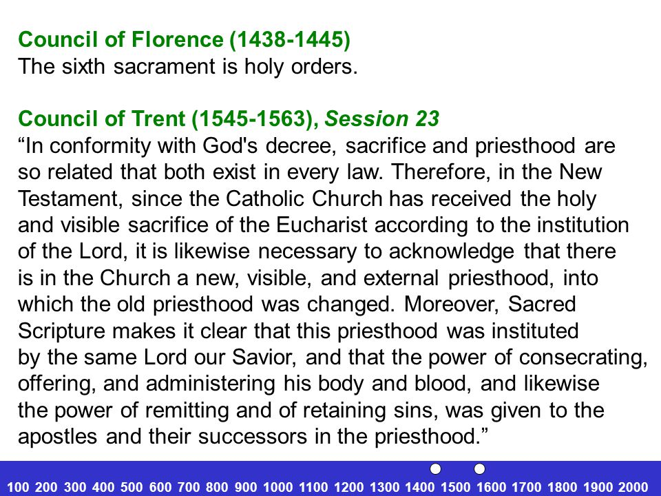 Council of Florence (1438-1445) The sixth sacrament is holy orders.