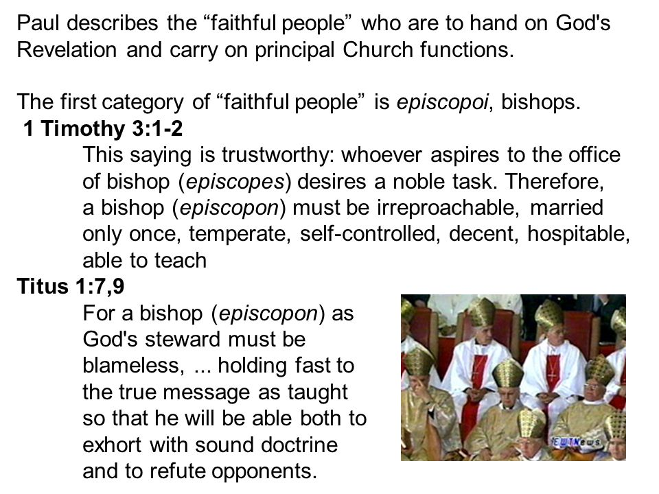 The second category of faithful people is presbyteroi, the presbyters, priests, elders.
