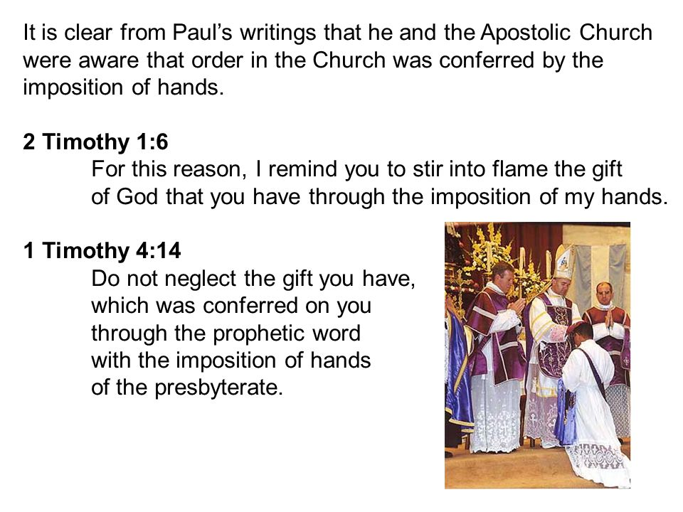 Paul reminds Timothy that the imposition of hands on another is not to be taken lightly.