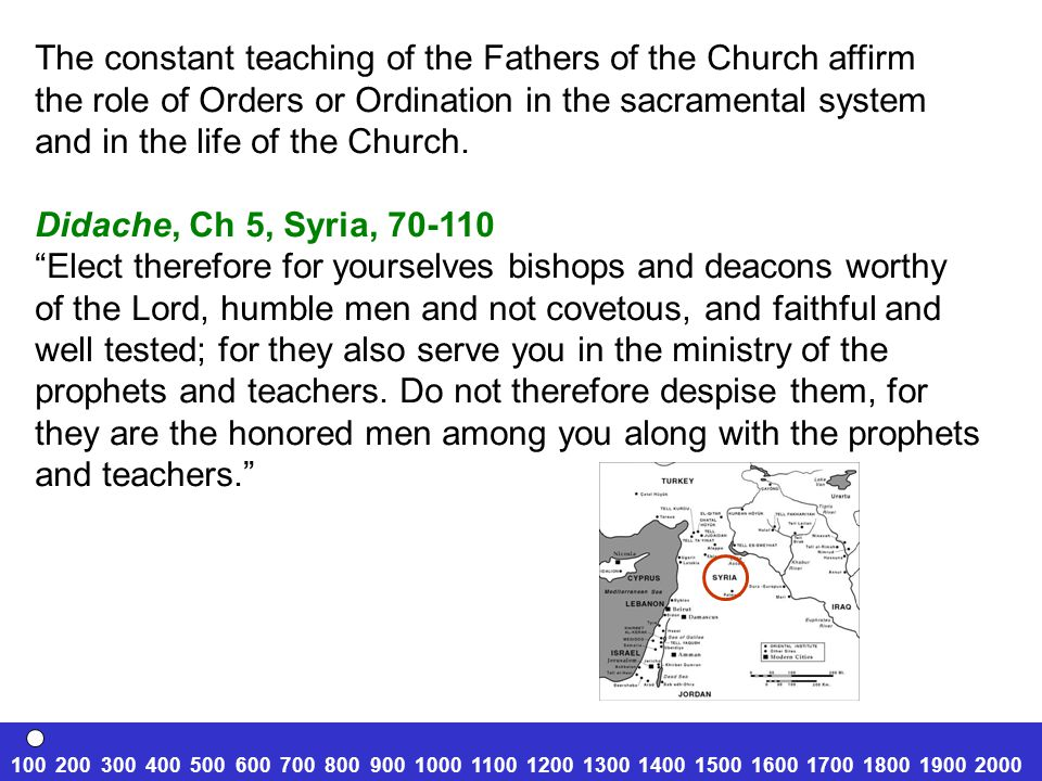 The constant teaching of the Fathers of the Church affirm the role of Orders or Ordination in the sacramental system and in the life of the Church. Di