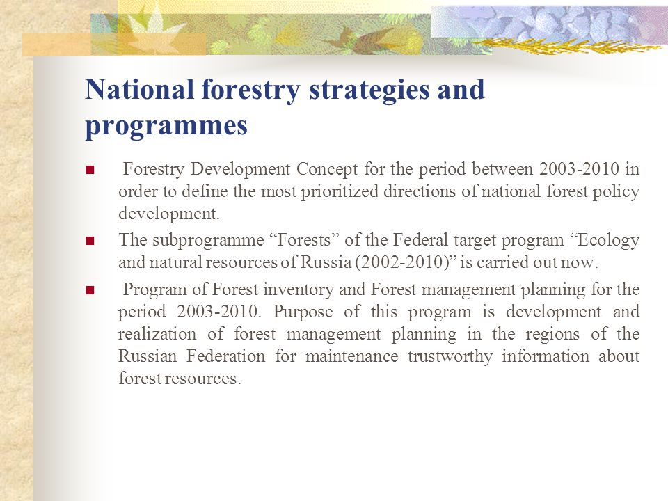 National forestry strategies and programmes Forestry Development Concept for the period between 2003-2010 in order to define the most prioritized dire