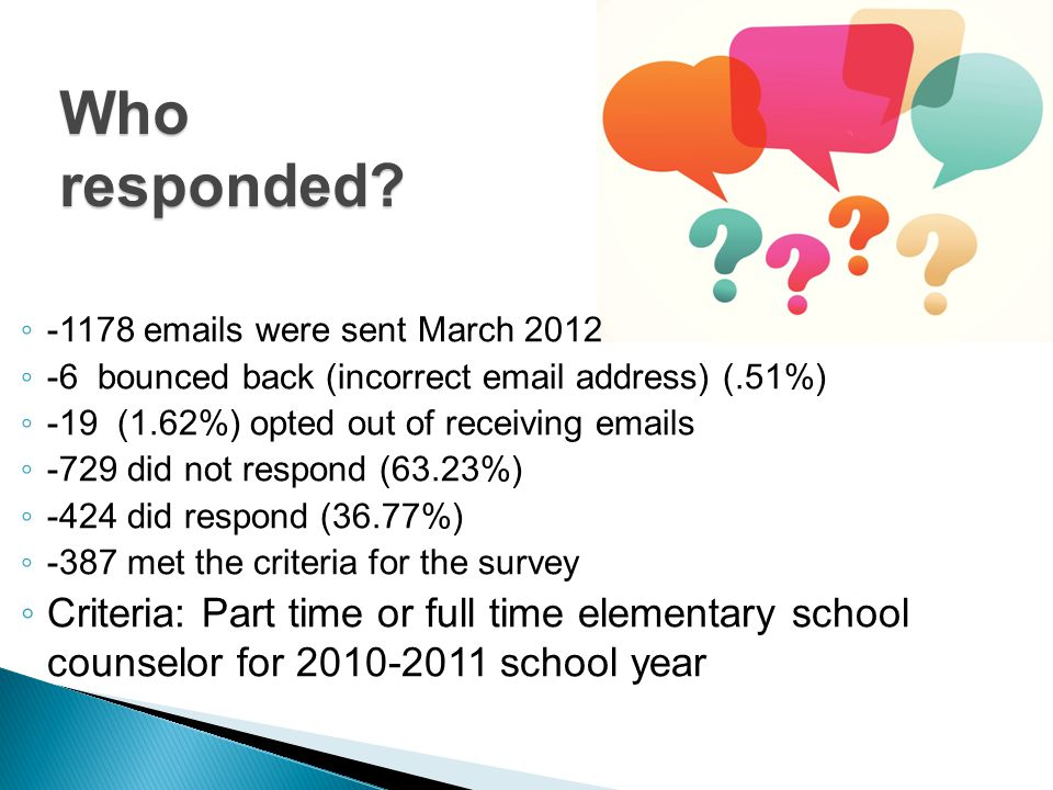 Who responded? ◦ -1178 emails were sent March 2012 ◦ -6 bounced back (incorrect email address) (.51%) ◦ -19 (1.62%) opted out of receiving emails ◦ -7