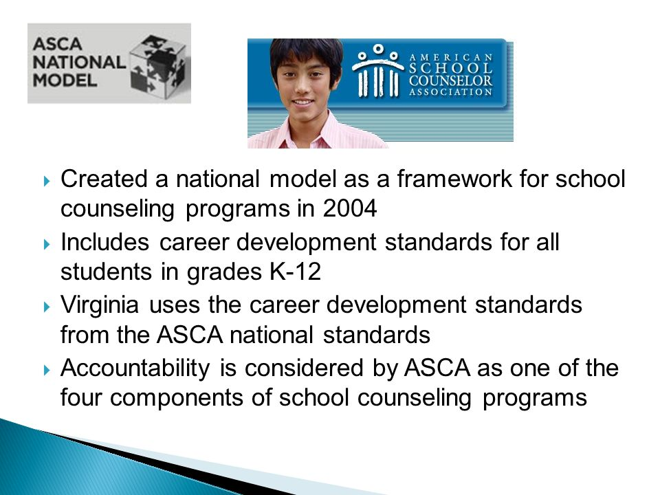  Created a national model as a framework for school counseling programs in 2004  Includes career development standards for all students in grades K-12  Virginia uses the career development standards from the ASCA national standards  Accountability is considered by ASCA as one of the four components of school counseling programs