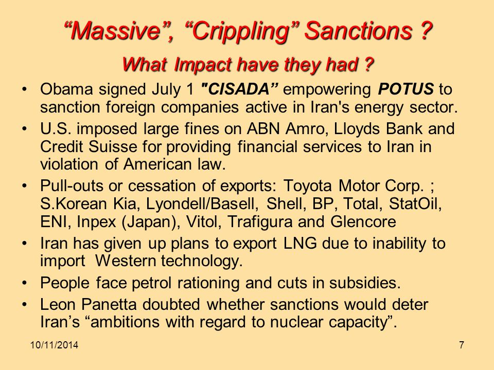 7 Massive , Crippling Sanctions . What Impact have they had .