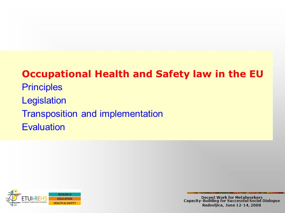 Decent Work for Metalworkers Capacity-Building for Successful Social Dialogue Radovljica, June 12-14, 2008 Occupational Health and Safety law in the E