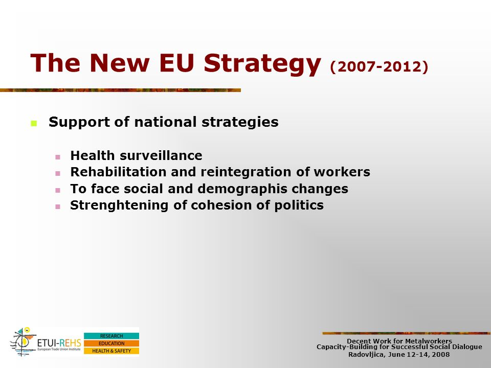 Decent Work for Metalworkers Capacity-Building for Successful Social Dialogue Radovljica, June 12-14, 2008 The New EU Strategy (2007-2012) Support of
