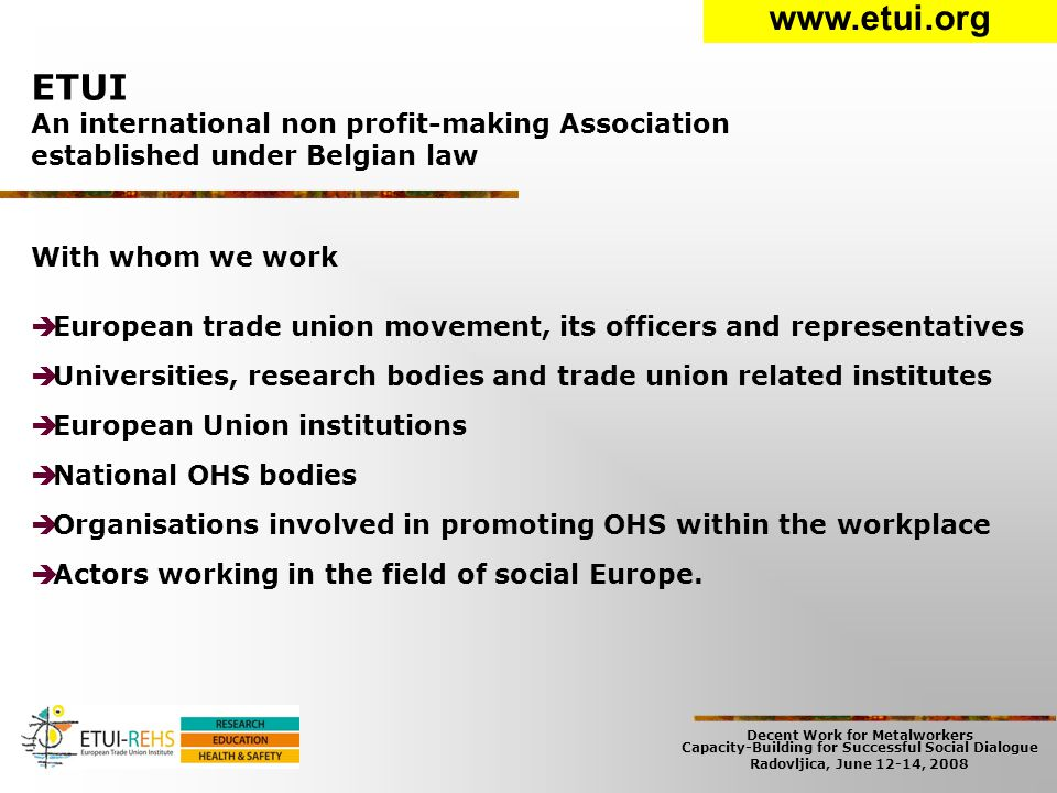 Decent Work for Metalworkers Capacity-Building for Successful Social Dialogue Radovljica, June 12-14, 2008 European Trade Union Institute ► 58 employees  32 women & 26 men  29 employed as officers ► 3 departments  34 persons in the Research Dep.