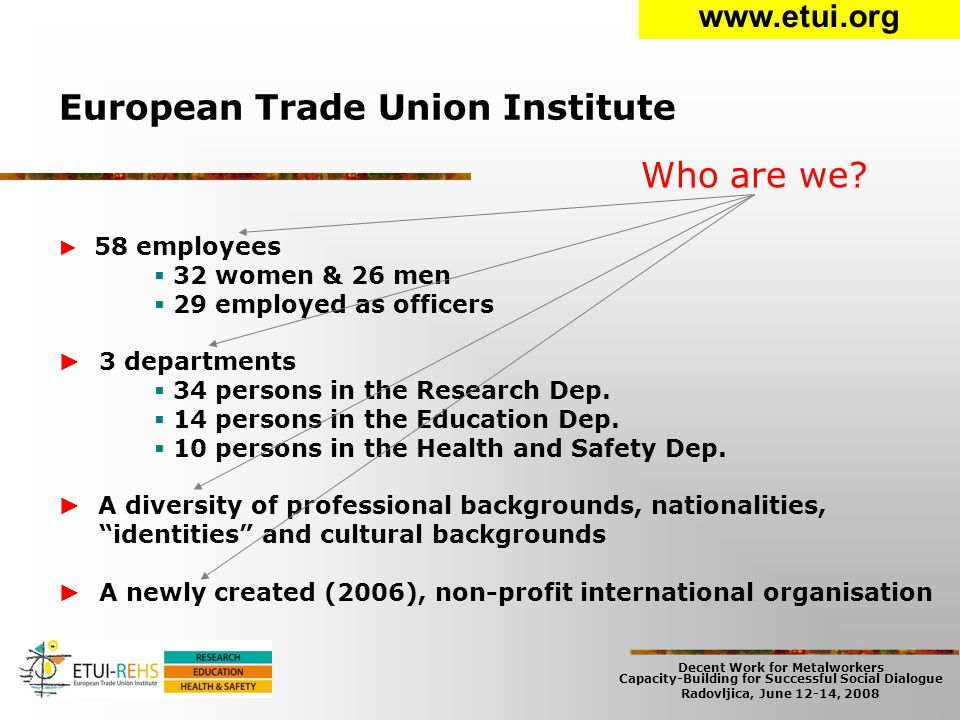 Decent Work for Metalworkers Capacity-Building for Successful Social Dialogue Radovljica, June 12-14, 2008 European Trade Union Institute ► 58 employees  32 women & 26 men  29 employed as officers ► 3 departments  34 persons in the Research Dep.
