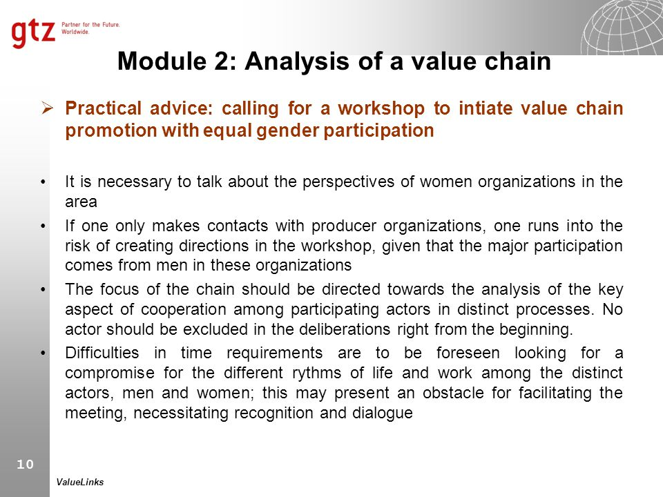 10 ValueLinks Module 2: Analysis of a value chain  Practical advice: calling for a workshop to intiate value chain promotion with equal gender partic