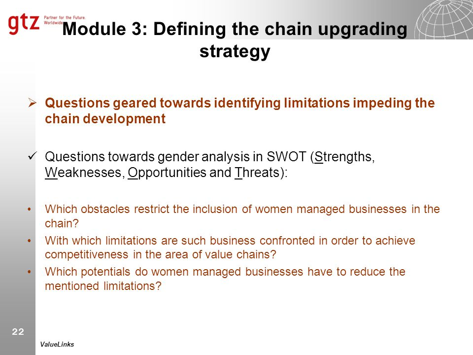 22 ValueLinks Module 3: Defining the chain upgrading strategy  Questions geared towards identifying limitations impeding the chain development Questi