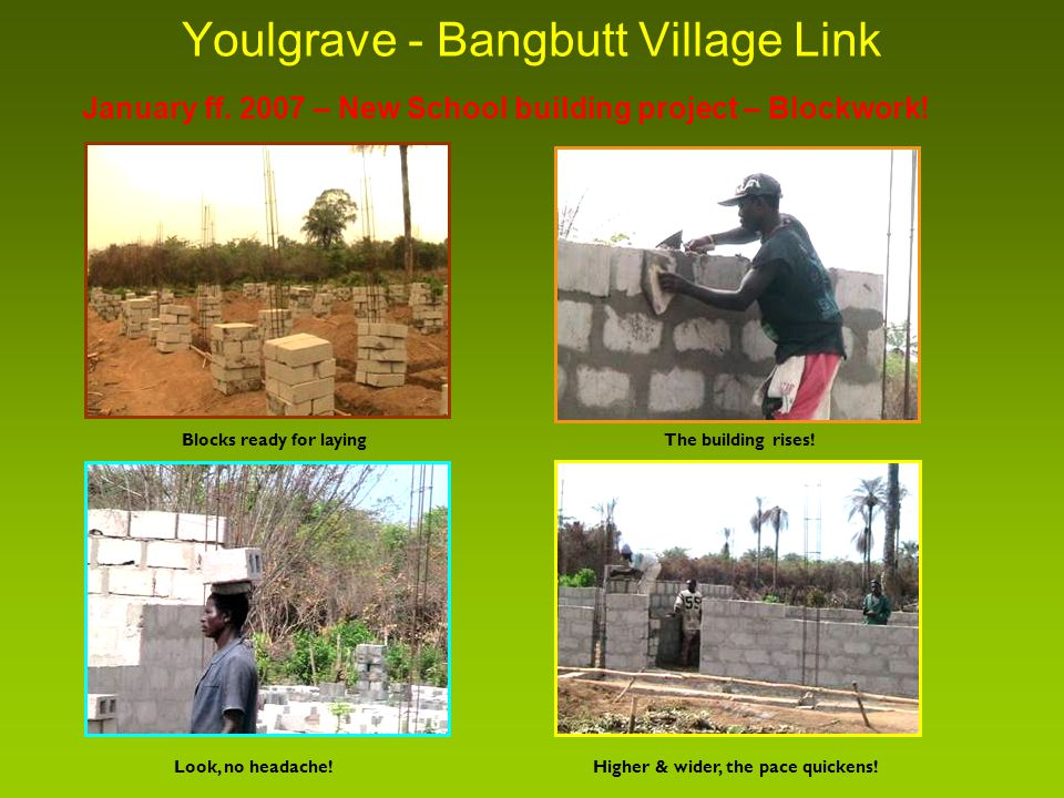 Youlgrave - Bangbutt Village Link Blocks ready for laying January ff.