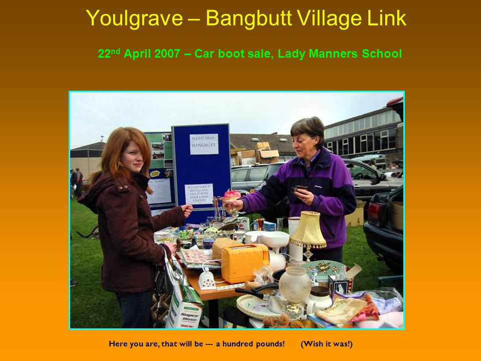 Youlgrave – Bangbutt Village Link Here you are, that will be --- a hundred pounds.