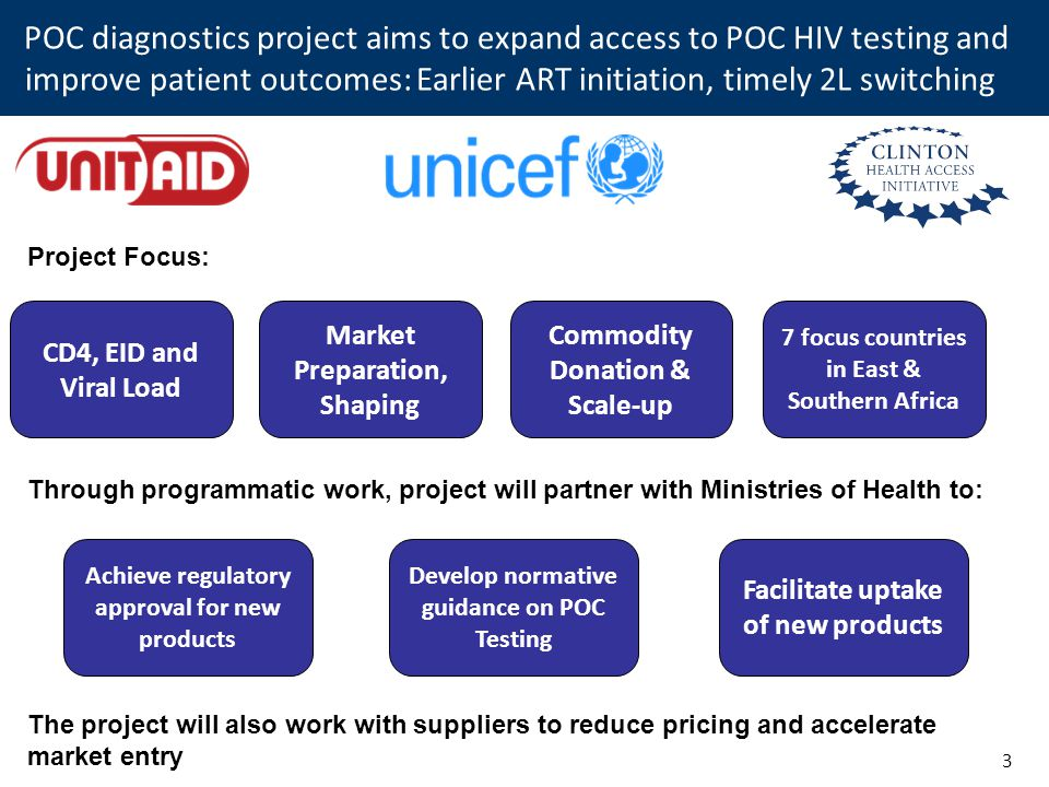 POC diagnostics project aims to expand access to POC HIV testing and improve patient outcomes: Earlier ART initiation, timely 2L switching 3 CD4, EID and Viral Load Achieve regulatory approval for new products Develop normative guidance on POC Testing Facilitate uptake of new products Project Focus: Through programmatic work, project will partner with Ministries of Health to: Market Preparation, Shaping Commodity Donation & Scale-up 7 focus countries in East & Southern Africa The project will also work with suppliers to reduce pricing and accelerate market entry