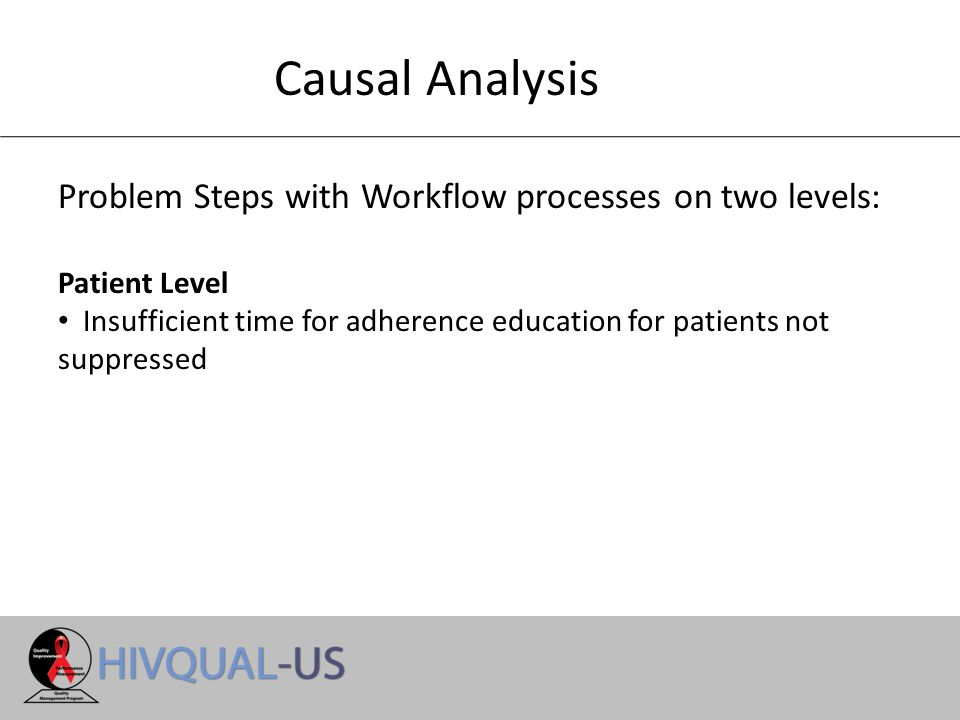 Causal Analysis Problem Steps with Workflow processes on two levels: Patient Level Insufficient time for adherence education for patients not suppressed