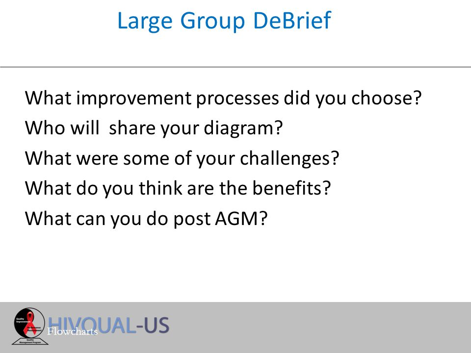 Large Group DeBrief What improvement processes did you choose.