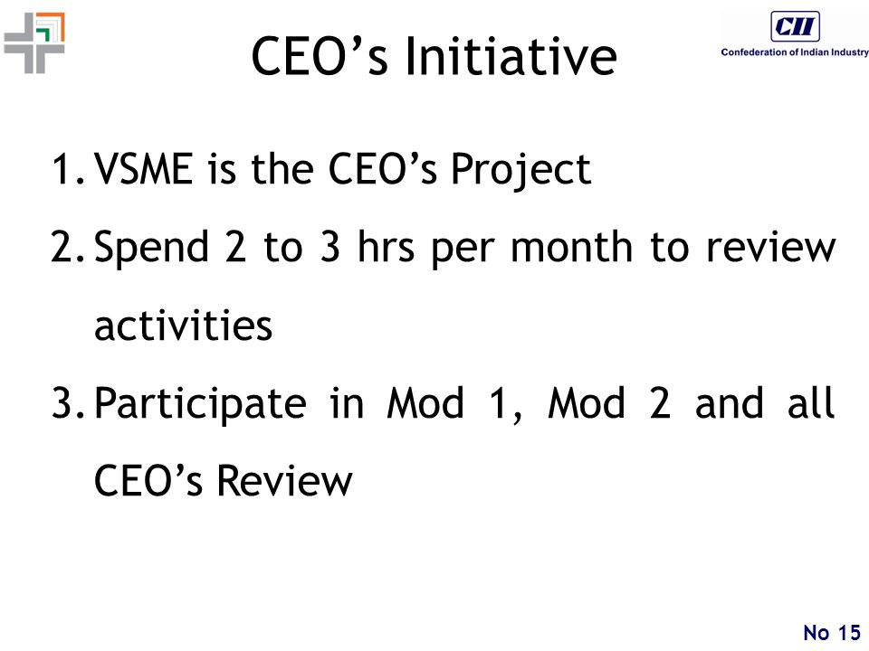 No 15 CEO's Initiative 1.VSME is the CEO's Project 2.Spend 2 to 3 hrs per month to review activities 3.Participate in Mod 1, Mod 2 and all CEO's Review