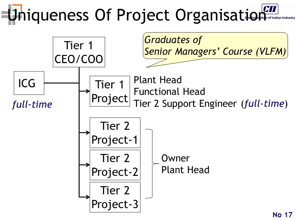 No 17 Uniqueness Of Project Organisation Tier 2 Project-1 Tier 1 CEO/COO Tier 1 Project Plant Head Functional Head Tier 2 Support Engineer (full-time) ICG Owner Plant Head Tier 2 Project-2 full-time Tier 2 Project-3 Graduates of Senior Managers' Course (VLFM)