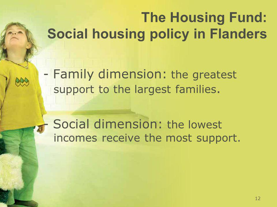 The Housing Fund: Social housing policy in Flanders - Family dimension: the greatest support to the largest families.