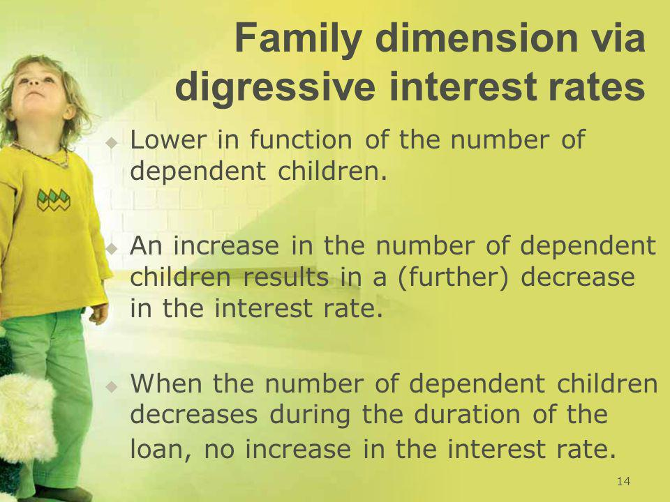 Family dimension via digressive interest rates   Lower in function of the number of dependent children.   An increase in the number of dependent c