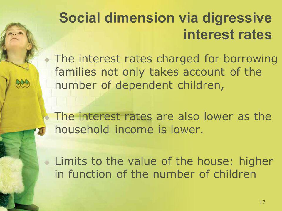 Social dimension via digressive interest rates   The interest rates charged for borrowing families not only takes account of the number of dependent children,   The interest rates are also lower as the household income is lower.