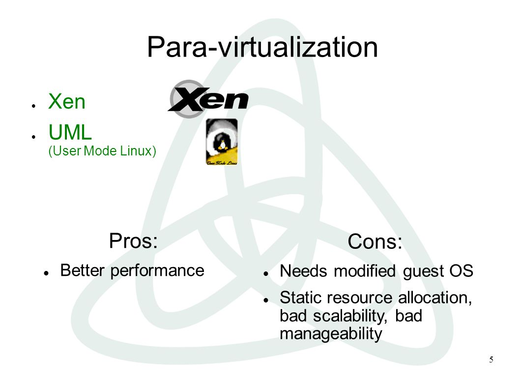 5 Para-virtualization  Xen  UML (User Mode Linux) Pros: Better performance Cons: Needs modified guest OS Static resource allocation, bad scalability, bad manageability