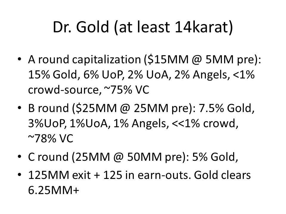 Dr. Gold (at least 14karat) A round capitalization ($15MM @ 5MM pre): 15% Gold, 6% UoP, 2% UoA, 2% Angels, <1% crowd-source, ~75% VC B round ($25MM @