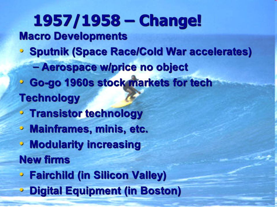 1957/1958 – Change.
