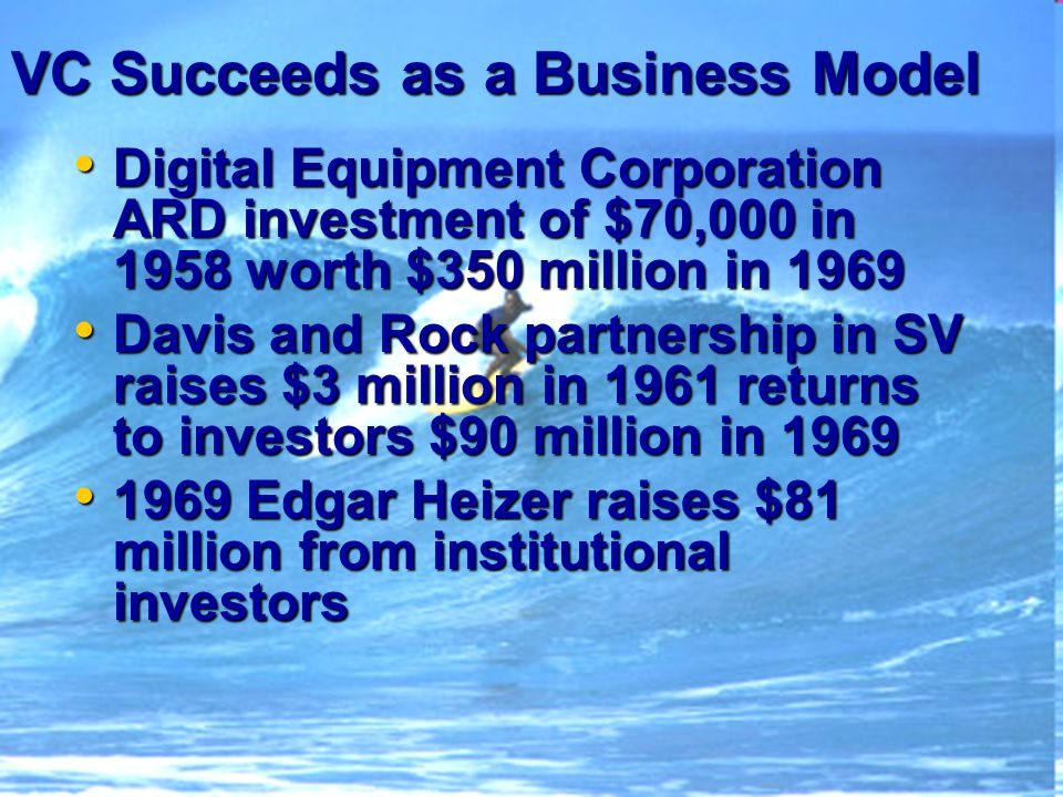 VC Succeeds as a Business Model Digital Equipment Corporation ARD investment of $70,000 in 1958 worth $350 million in 1969 Digital Equipment Corporation ARD investment of $70,000 in 1958 worth $350 million in 1969 Davis and Rock partnership in SV raises $3 million in 1961 returns to investors $90 million in 1969 Davis and Rock partnership in SV raises $3 million in 1961 returns to investors $90 million in 1969 1969 Edgar Heizer raises $81 million from institutional investors 1969 Edgar Heizer raises $81 million from institutional investors