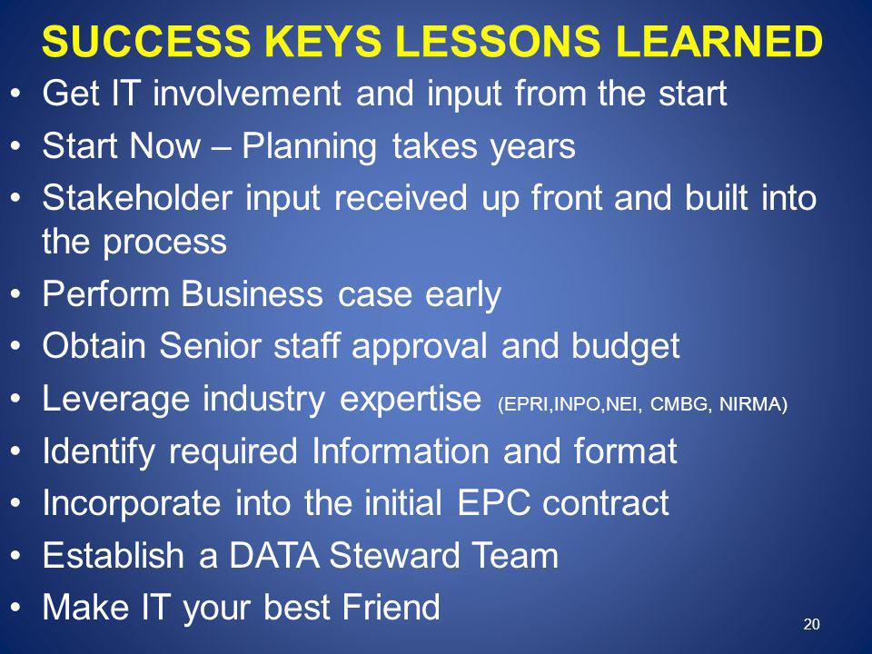 SUCCESS KEYS LESSONS LEARNED Get IT involvement and input from the start Start Now – Planning takes years Stakeholder input received up front and built into the process Perform Business case early Obtain Senior staff approval and budget Leverage industry expertise (EPRI,INPO,NEI, CMBG, NIRMA) Identify required Information and format Incorporate into the initial EPC contract Establish a DATA Steward Team Make IT your best Friend 20