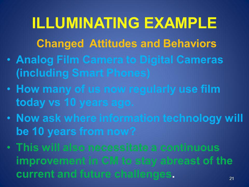 ILLUMINATING EXAMPLE Changed Attitudes and Behaviors Analog Film Camera to Digital Cameras (including Smart Phones) How many of us now regularly use f
