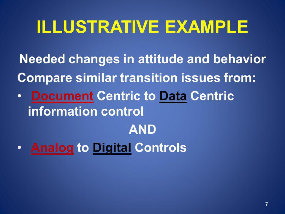 ILLUSTRATIVE EXAMPLE Needed changes in attitude and behavior Compare similar transition issues from: Document Centric to Data Centric information cont
