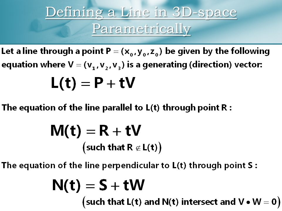 Defining a Line in 3D-space Parametrically