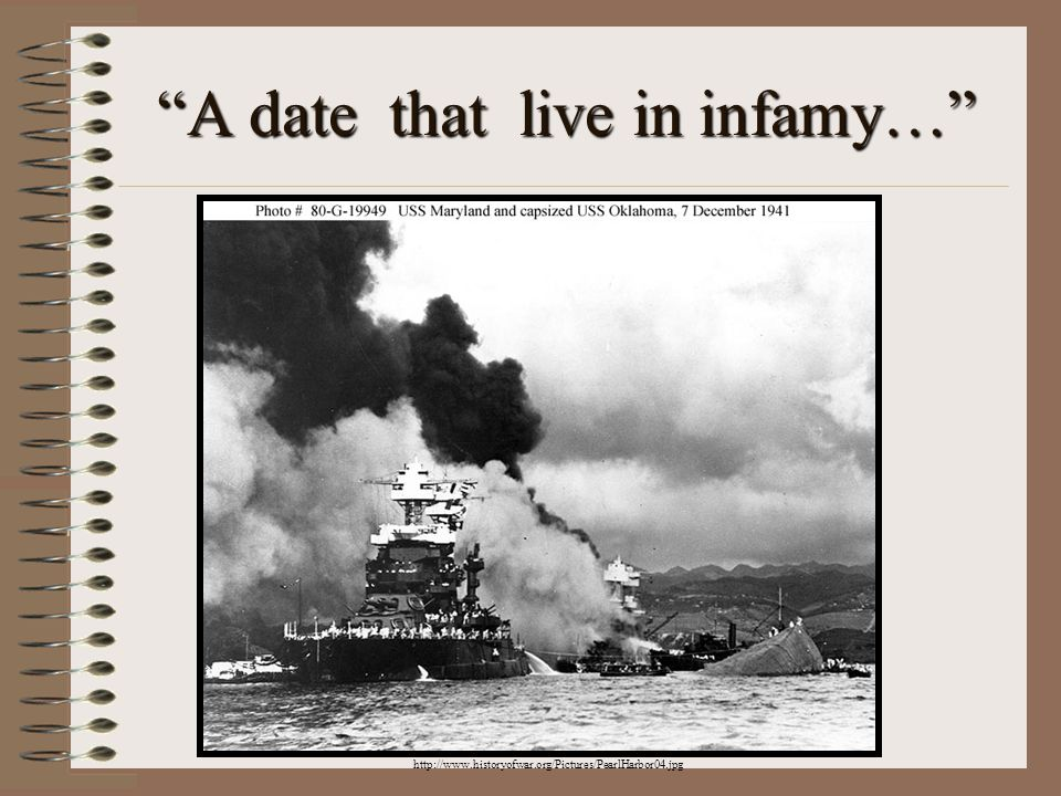 A date that live in infamy… http://www.historyofwar.org/Pictures/PearlHarbor04.jpg