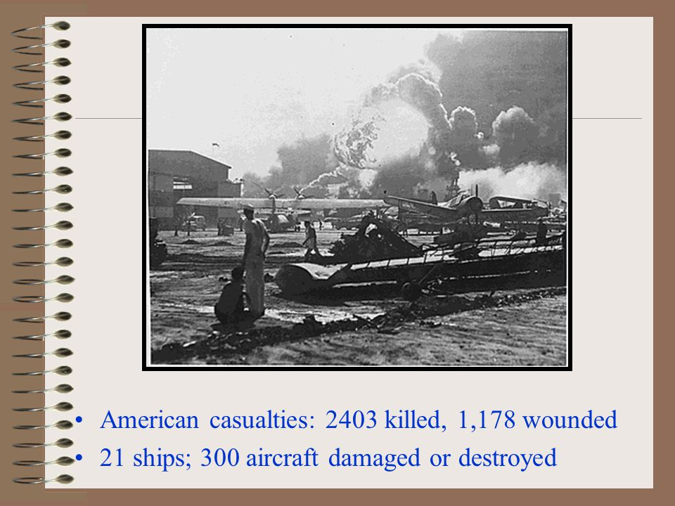 American casualties: 2403 killed, 1,178 wounded 21 ships; 300 aircraft damaged or destroyed