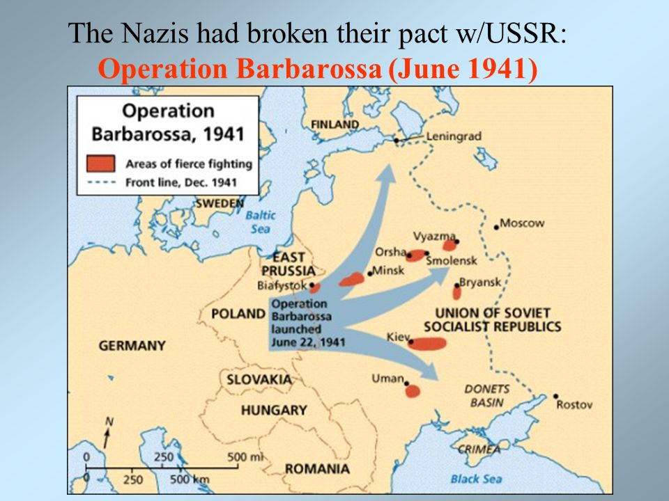 The Nazis had broken their pact w/USSR: Operation Barbarossa (June 1941)