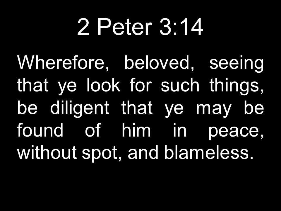 2 Peter 3:14 Wherefore, beloved, seeing that ye look for such things, be diligent that ye may be found of him in peace, without spot, and blameless.