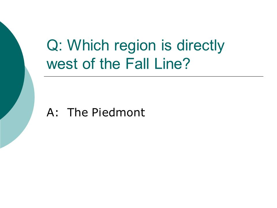 Q: Which region is directly west of the Fall Line? A: The Piedmont