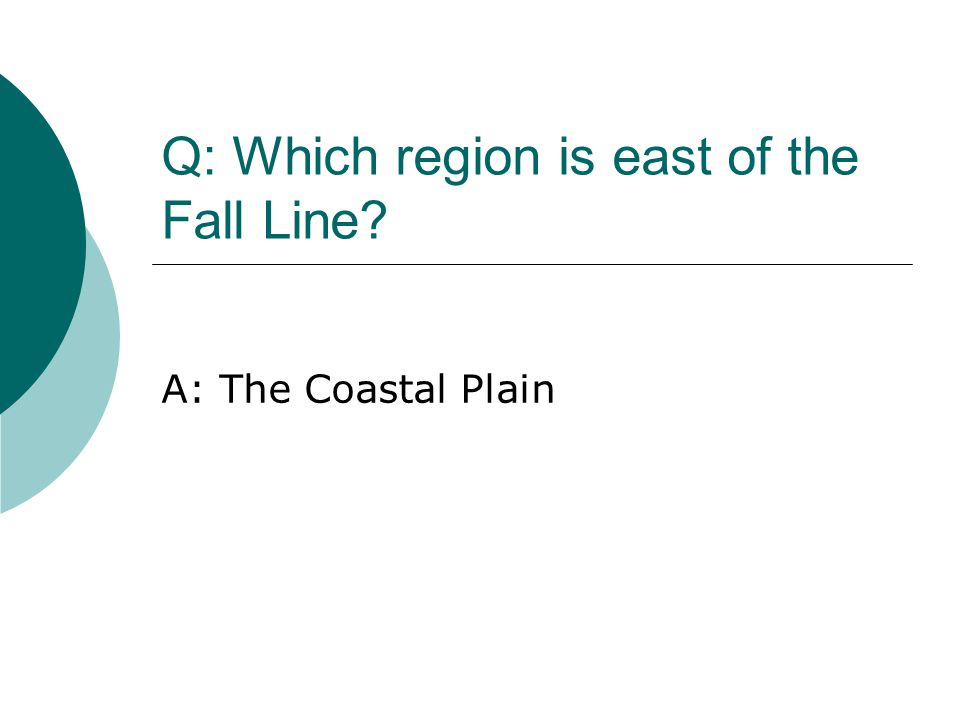 Q: Which region is east of the Fall Line? A: The Coastal Plain