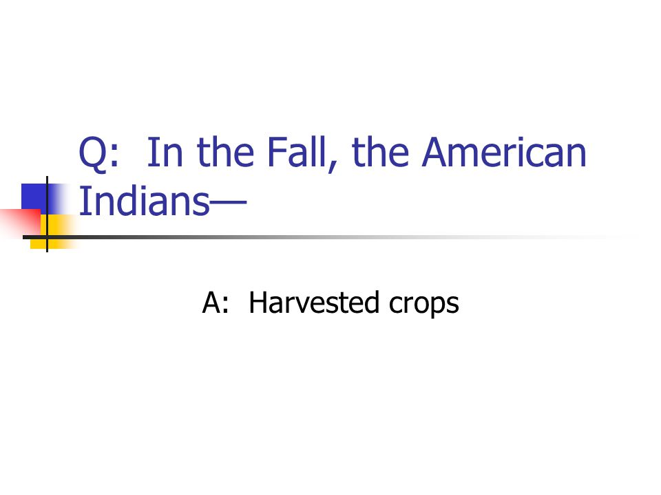 Q: In the Fall, the American Indians— A: Harvested crops