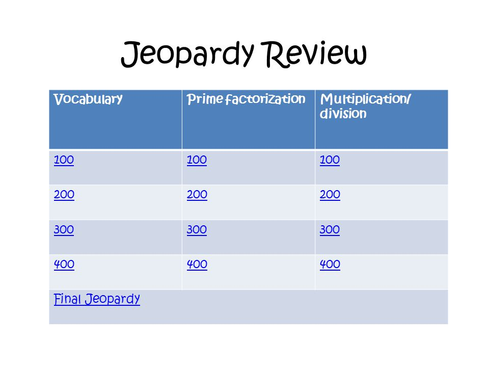 Jeopardy Review VocabularyPrime factorizationMultiplication/ division 100 200 300 400 Final Jeopardy