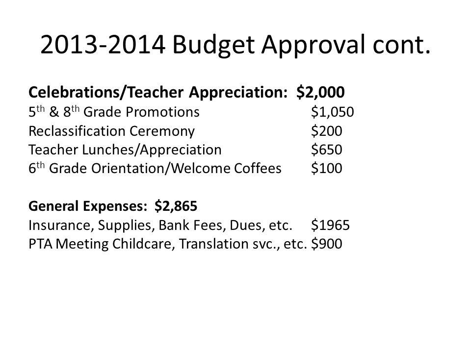 2013-2014 Budget Approval cont. Celebrations/Teacher Appreciation: $2,000 5 th & 8 th Grade Promotions$1,050 Reclassification Ceremony$200 Teacher Lun