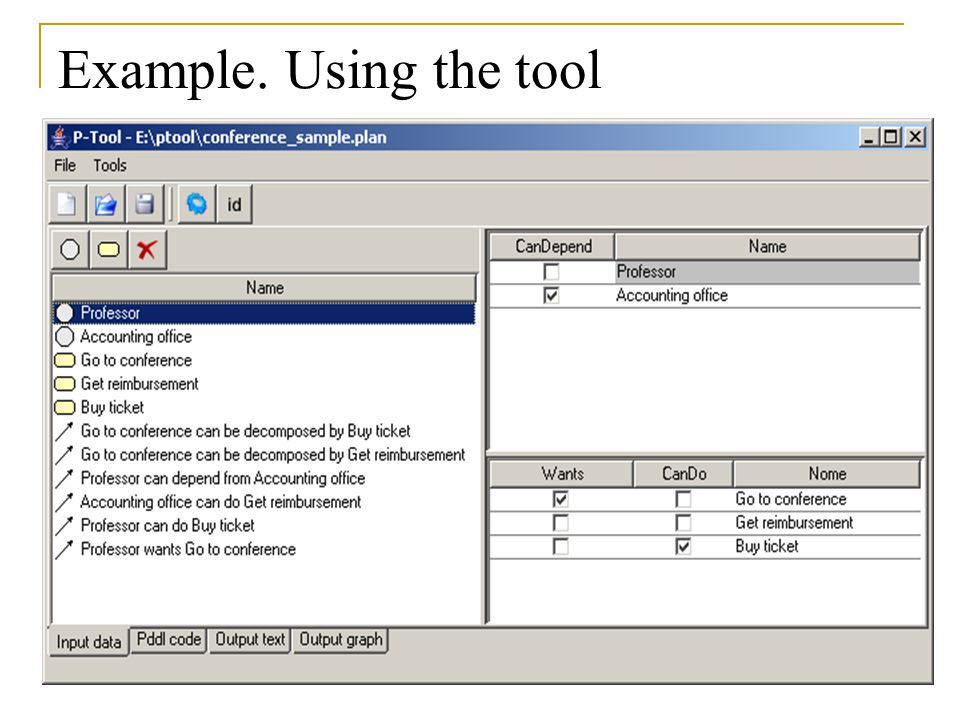 Example. Using the tool