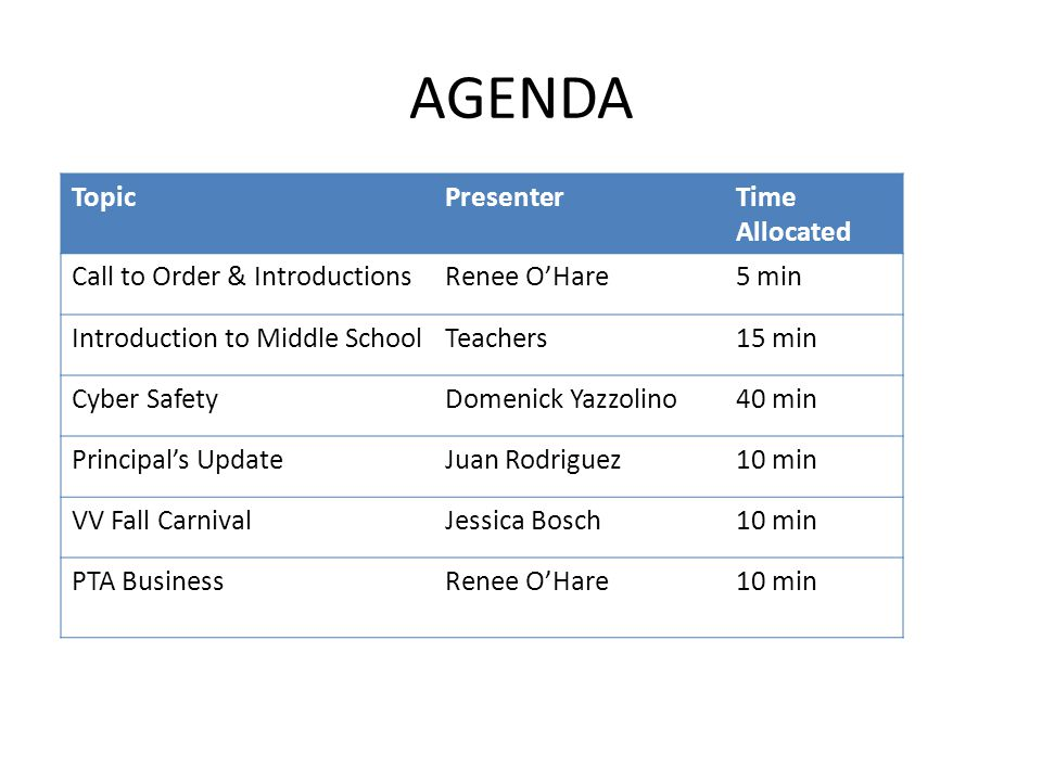 AGENDA TopicPresenterTime Allocated Call to Order & IntroductionsRenee O'Hare5 min Introduction to Middle SchoolTeachers15 min Cyber SafetyDomenick Yazzolino40 min Principal's UpdateJuan Rodriguez10 min VV Fall CarnivalJessica Bosch10 min PTA BusinessRenee O'Hare10 min