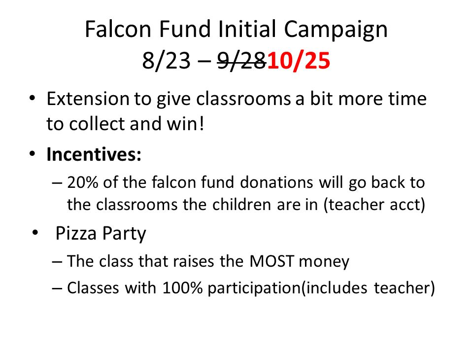 Falcon Fund Initial Campaign 8/23 – 9/2810/25 Extension to give classrooms a bit more time to collect and win.