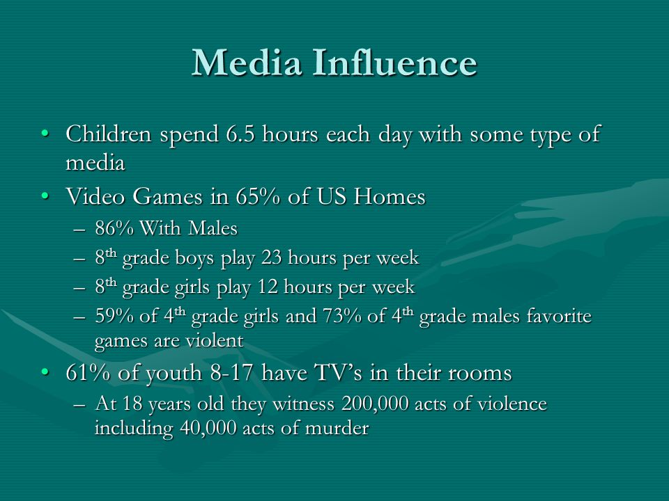 Media Influence Children spend 6.5 hours each day with some type of mediaChildren spend 6.5 hours each day with some type of media Video Games in 65% of US HomesVideo Games in 65% of US Homes –86% With Males –8 th grade boys play 23 hours per week –8 th grade girls play 12 hours per week –59% of 4 th grade girls and 73% of 4 th grade males favorite games are violent 61% of youth 8-17 have TV's in their rooms61% of youth 8-17 have TV's in their rooms –At 18 years old they witness 200,000 acts of violence including 40,000 acts of murder