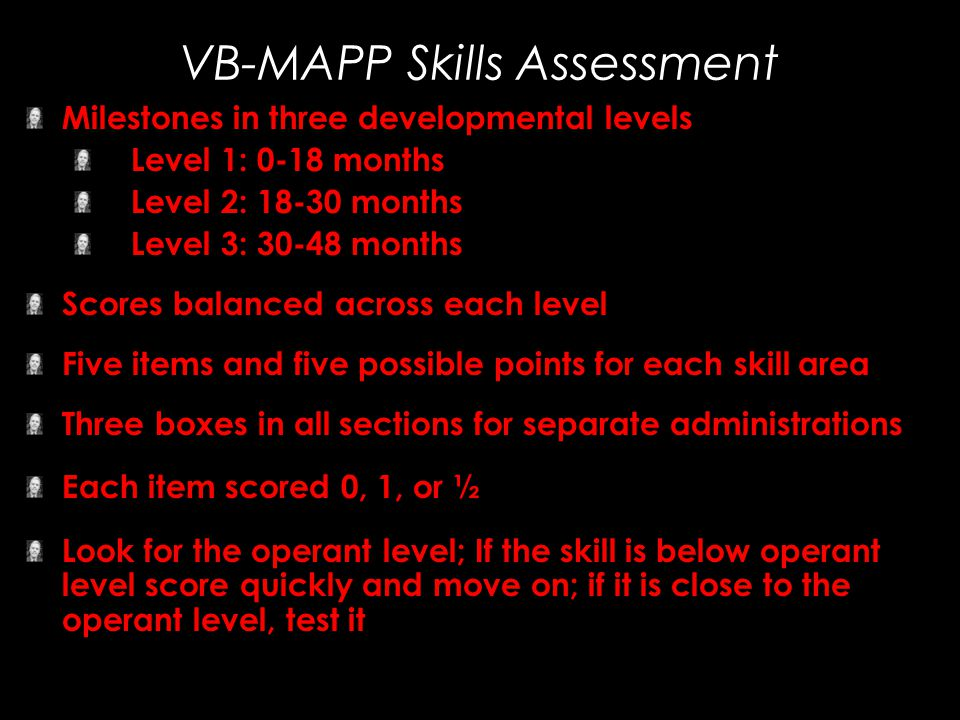 VB-MAPP Skills Assessment Milestones in three developmental levels Level 1: 0-18 months Level 2: 18-30 months Level 3: 30-48 months Scores balanced ac