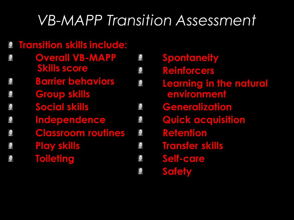 Transition skills include: Overall VB-MAPP Skills score Barrier behaviors Group skills Social skills Independence Classroom routines Play skills Toile