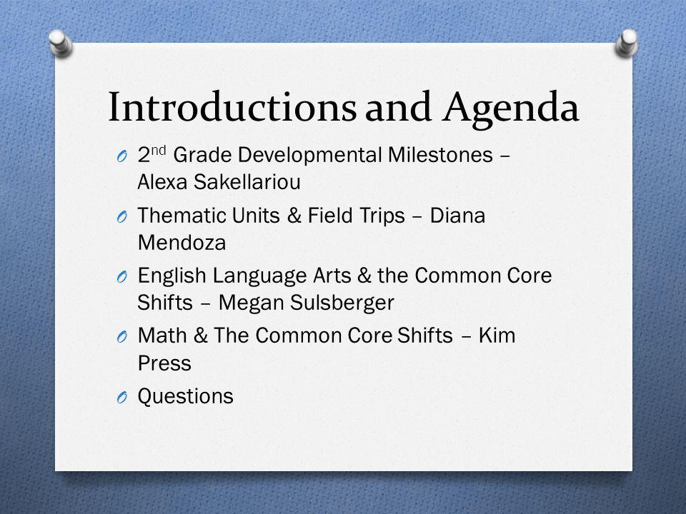 Introductions and Agenda O 2 nd Grade Developmental Milestones – Alexa Sakellariou O Thematic Units & Field Trips – Diana Mendoza O English Language A