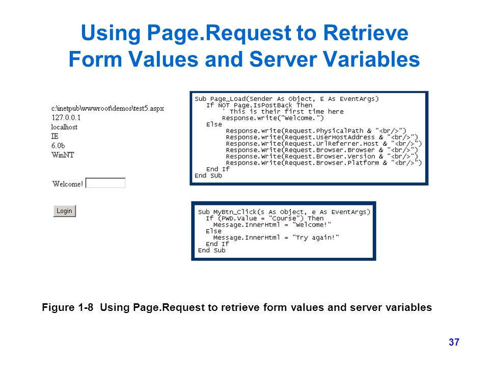 37 Using Page.Request to Retrieve Form Values and Server Variables Figure 1-8 Using Page.Request to retrieve form values and server variables