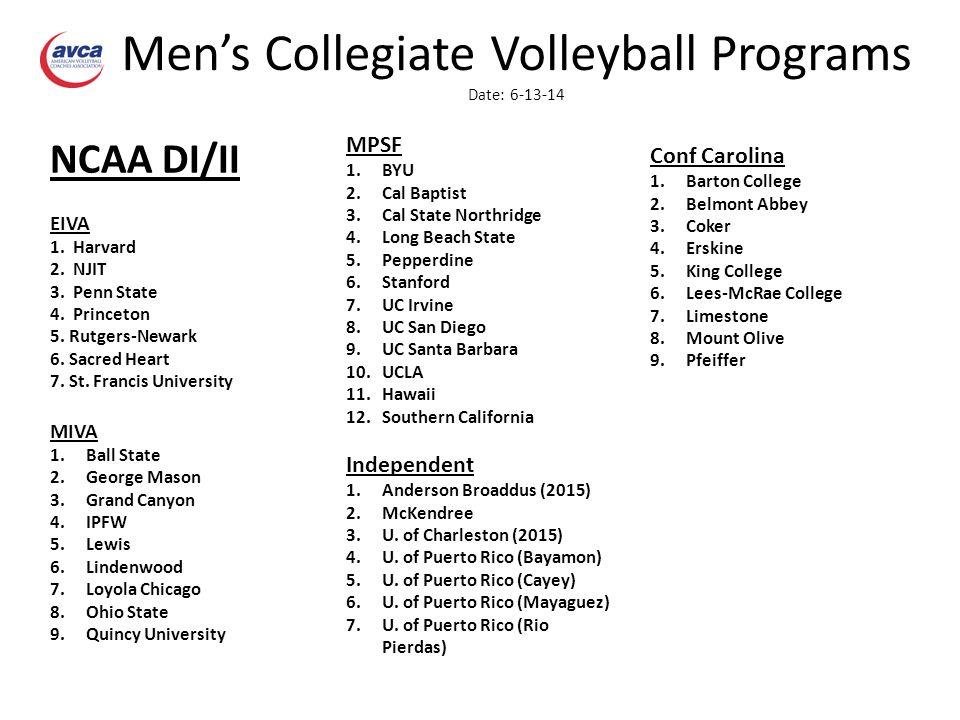 Men's Collegiate Volleyball Programs Date: 6-13-14 NCAA DI/II EIVA 1.
